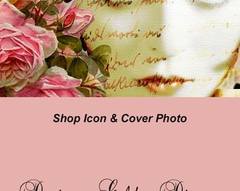 large Cover banner and Shop Icon, Golden Diva, 2 PC instant download, blank, vintage lady, diva, gold, pink, roses, scarf, bohemian, eyes
