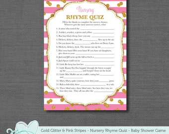 Gold Glitter and Pink Stripes Nursery Rhyme Quiz Baby Shower Game, Instant Download, Printable, Printable Baby Game, Pink and Gold, 3G