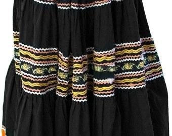 1950 Small Mexican Skirt Black Silver Dia De Los Muertos Orange Dance Square Western Indian Navaho Halloween Bric Brac Day of the Dead Folk