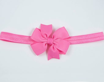 Hot Pink Bow Headband, Pink Newborn Headband, Pink Headband, Pink Baby Bow, Pink Baby Headband, Pink Elastic Headband (Item #10400)