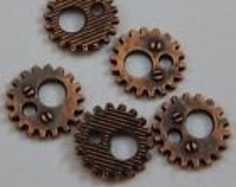 copper color cog or gear charm 11  mm 10 charms steam punk charms