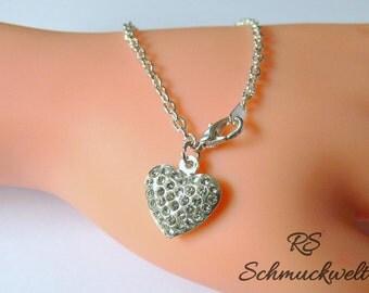 Petite, heart bracelet, Bracelet Crystal bracelet, bracelet filigree, earrings, Bridal bracelet, wedding, bridesmaid bracelet gift