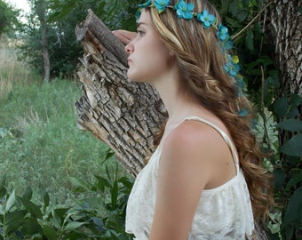 Flower Hair Garland, Wedding Headband, Floral Hair Crown, Teal Blue, Tropical Wedding Tiara, Head Wreath, Bride Headband, Flower Crown