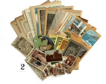 Brown and yellow hues, 30 vintage paper ephemera pack. Paper pieces for collage and art. (set 2)