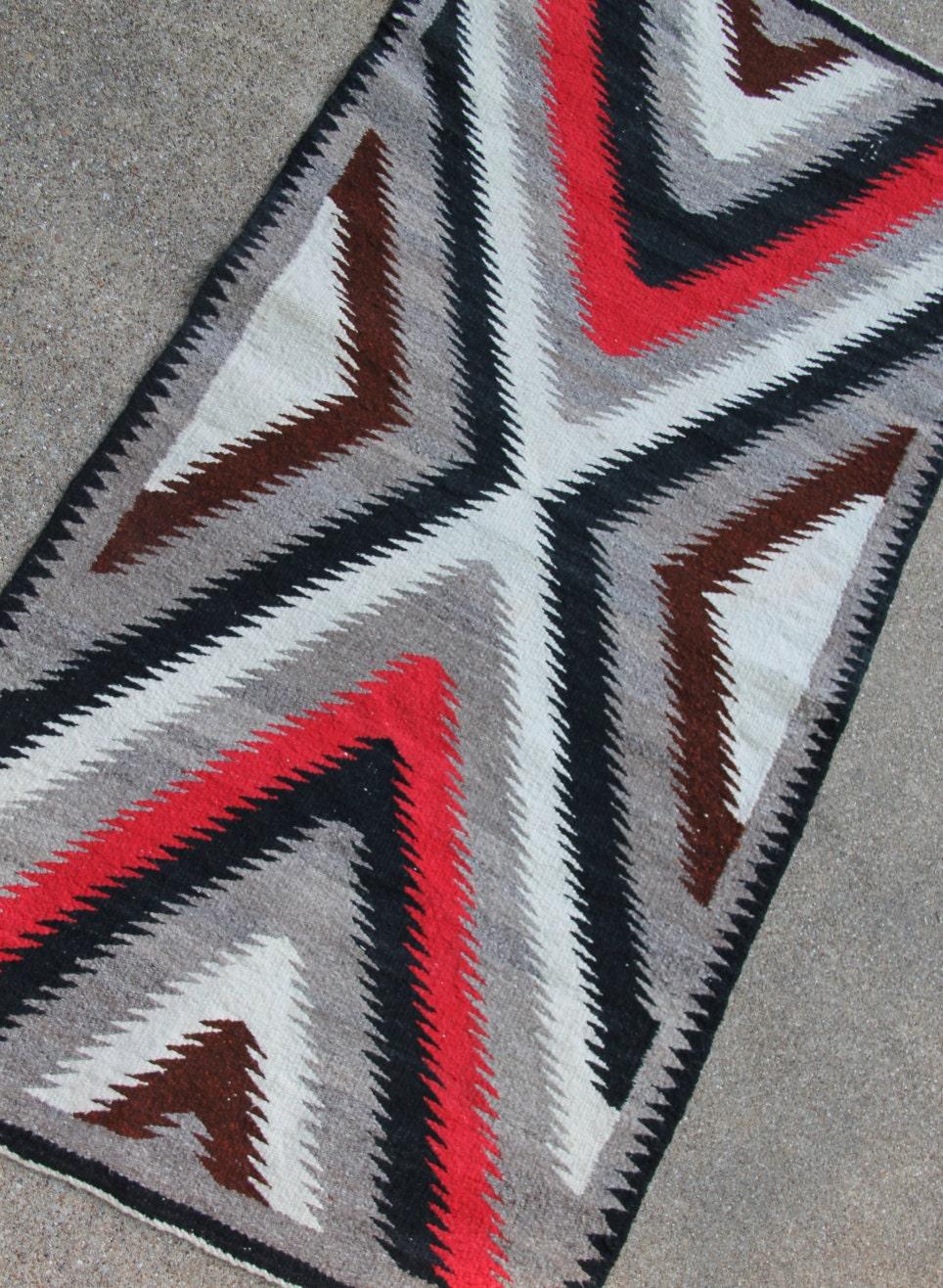 vintage navajo rug runner eye dazzler pattern