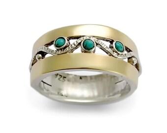 Two tone filigree band, Turquoise engagement Ring, Gemstone Wedding band, silver gold band, Turquoise multistone ring, Everyday wide ring