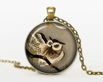 OWL handmade necklace with glass cabochon pendant owl - Scodinzolo in the aid of organizations for the animal protection