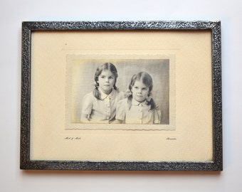 1920s Vintage Framed Photo 2 Sisters 2 Girls Portrait Photo 2 Little Girls Councillor Trowbridge Miell & Miell Boscombe Bournemouth England