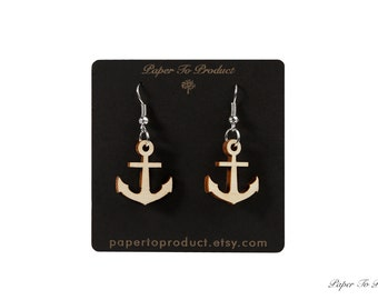Wood Earrings Laser Cut Anchor