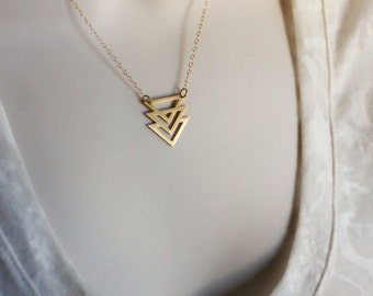 Gold Triple Triangle Chevron Necklace, Geometric Necklace, Gold Triangle Jewelry, Modern Minimalist Jewelry, Everyday Necklace, 24K Gold