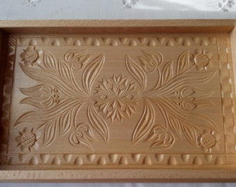 New handmade,handcarved tray,salver,decorative plate,home decor,serving dish,unique tray,gift for woman,gift for girls,rustic,wooden tray