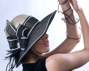 Cream and black wide brim hat, Asymmetric wide-brim hat, Kentucky derby hat, Wedding hat, Tea Party hat, Ascot hat, Melbourne cup hat, Irish