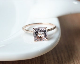 8x8mm Cushion Cut Morganite Ring Rose Gold Morganite Engagement Ring/Cushion Cut engagement ringPromise Ring/Anniversary Ring/Morganite Ring