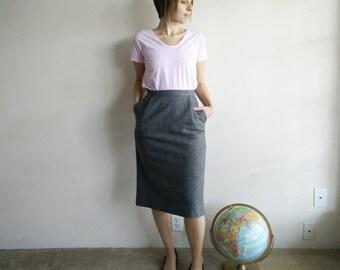 SALE Vintage Gray Wool Pencil Skirt