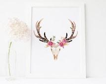 sale: printable Deer skull art, tribal nursery, cow skull wall art boho dorm wall art, tribal print floral antler tribal wall art boho print
