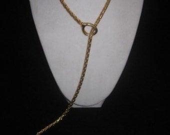 Vintage Gold Tone Snake Lariat Toggle Necklace