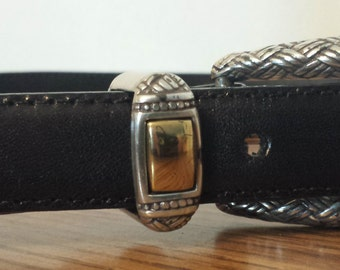 Brighton Black Leather Belt 1990s D433-2