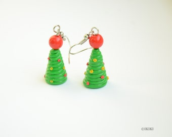 SALE Christmas Tree Earrings, Polymer Clay Christmas Earrings, Christmas Tree Jewelry, New Year Earrings