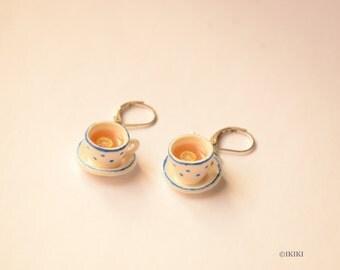 Tea Cup Earrings, Polymer Clay Tea Party Earrings, Polymer Clay Mini Tea Cups, Polka Dot Cup Earrings, Tea Cup Jewelry, Mini Tea Jewelry