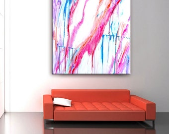 Abstract Painting, Abstract Art, Pink Painting, White Pink Teal, Drip Painting Extra Large, 36x36, Bright Large Canvas Original, Modern Art