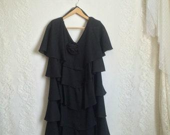 80s Black Ruffle Dress // Vintage Midi Formal Dress // Size: M