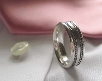 Matrimony Antique Silver Wedding Band