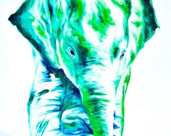 "Elephant Painting | Elephant Art by Aidan Weichard | Original Painting on Canvas | Abstract Animal Art | ""Jade"" 95 x 70cm - Modern style"