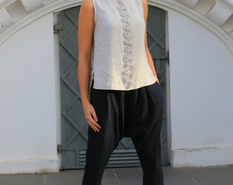 Linen blouse. Natural linen sleeveless blouse / Linen shirt / womens clothing / linen smock / loose blouse