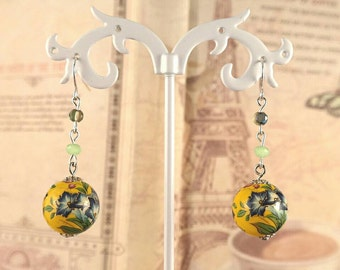 Yellow Tensha Bead drop earrings
