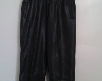 SALE /// Vintage 1980's High Waisted Black Leather Trousers Pants W 27 Minimalist