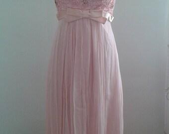 SALE /// Vintage 1960's Baby Pink Flowy Chiffon Gown Formal Prom Dress Ribbon Work Bodice Empire Waist Sz Small