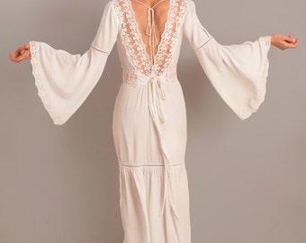 Rustic wedding dress, bell sleeves, boho wedding dress, long sleeve dress, unconventional dress, alternative wedding dress, square neckline