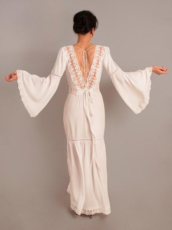 Rustic Wedding Dress Bell Sleeves Boho Long