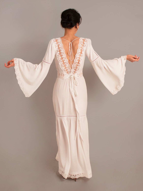 Rustic wedding dress bell sleeves boho wedding dress long for Bell sleeve wedding dress