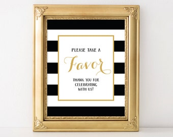 PRINTABLE Wedding Favor Sign, Favors Reception Sign, Black & White Stripes, Black, White, and Gold Wedding Decor, INSTANT DOWNLOAD