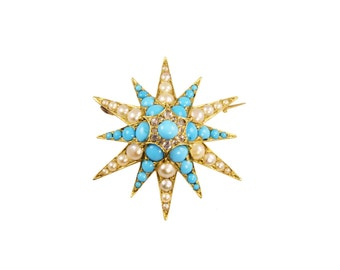 Victorian turquoise, pearl and diamond star pendant / brooch, circa 1880.