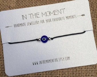 Evil Eye Bracelet/Anklet, Evil Eye Bracelet, Evil Eye Anklet, Adjustable Cord Anklet with Blue Evil Eye Bead, Evil Eye Jewelry, Unisex Gift