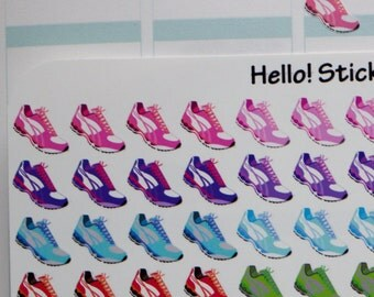 Walk, Fitness, WorkOut Tennis Shoes! Stickers for Erin Condren Planner, exercise stickers, Happy Planner, Step tracker, Shoe Stickers
