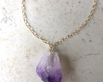 rough cut amethyst pendant necklace