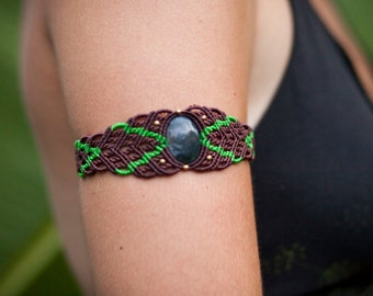 Brown/Green Micro-Macrame Hand Cuff/Arm Band with Aventurine or Moss Agate Cabochon