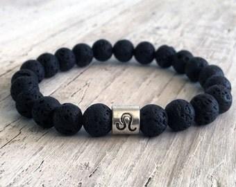 LEO Lava Bead Bracelet, Minimalist Stack Bracelet, Zodiac Focus Bead, Zodiac Jewelry, Boho, Cancer Bracelet,