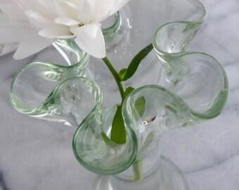 "7"" Ruffle topped Green cut Glass bud Vase, vintage, wedding gift, anniversary gift, housewarming gift"