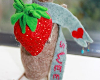 Needle Felted Strawberry Mouse- Wool Ornament- Little Home Décor- LittleMiniTitchy™ - UK