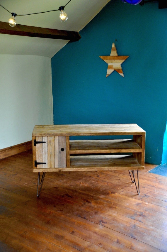 reclaimed wood sideboard steel hairpin legs rustic industrial. Black Bedroom Furniture Sets. Home Design Ideas