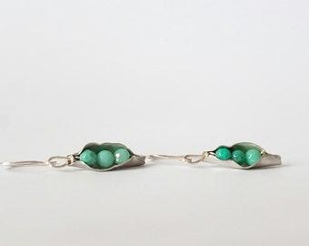 Sterling silver, pea pod earrings, dangle earrings, 925, gift for her, gemstone earrings, green calcedonia