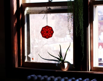 Octagon Stained Glass Window Hanging / Sun Catcher - Red + Orange