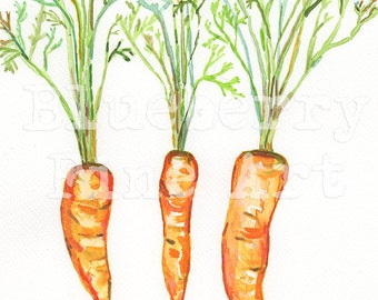 Carrots watercolor print, Kitchen art, Carrot painting, Carrot art,Wall art, Kitchen decor, Carrots art print, Vegetable painting, Food art,