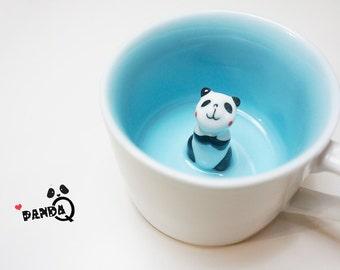 Panda Surprise Mug - With Cap, Cute Panda, Animal Mug, Hidden Animal Mug, Coffee Cup, Kawaii, Pottery, Clay, Gift, PA09