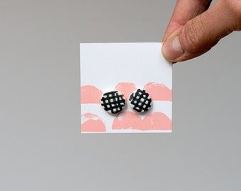Porcelain Ceramic Stud Earrings - Hand Painted Grid. Made in Melbourne.