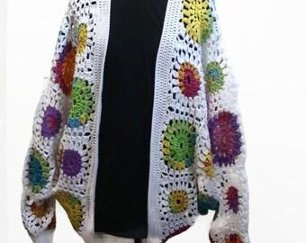Crochet Cocoon Sweater Cardigan Jacket Dolman Style Womens Rainbow Hippie Clothes